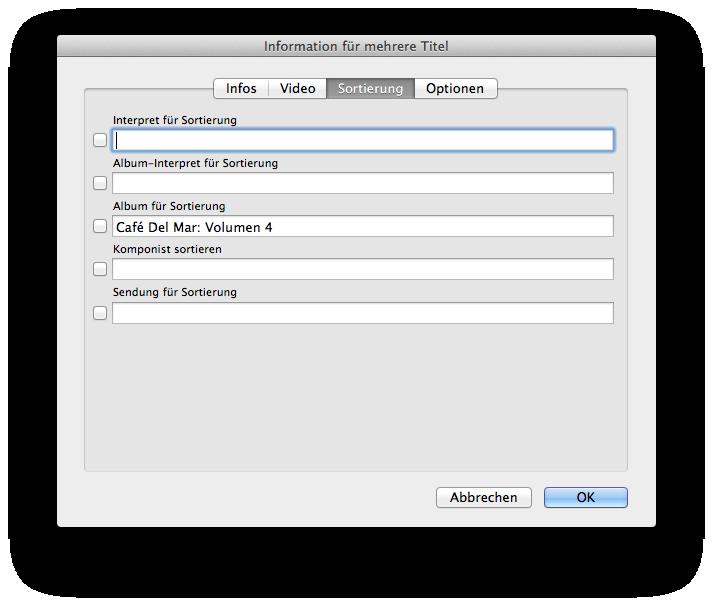 Felder für Sortierung in iTunes